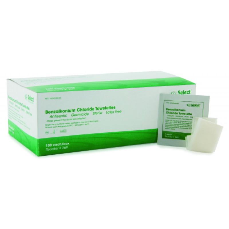 Benzalkonium Chloride Towelettes 100/Box 269